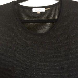 Calvin Klein | Black & Silver Knit Top | Size XL